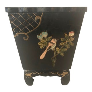 Mid 20th Century Black Lacquer Cachepot With Chinoiserie Detail For Sale