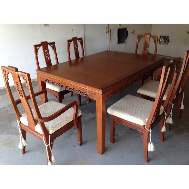 Asian Mid-Century Style Asian Teak Dining Set For Sale - Image 3 of 5