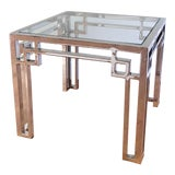 Image of Chrome and Glass Side Table For Sale