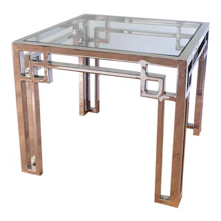 Chrome and Glass Side Table For Sale