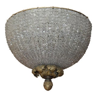 C.1890's Antique French Napoleon III Beaded Dome Chandelier - Huge For Sale