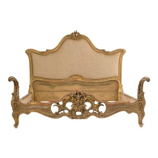 1950s French Louis XV Stylely Carved Queen Size Bedframe For Sale