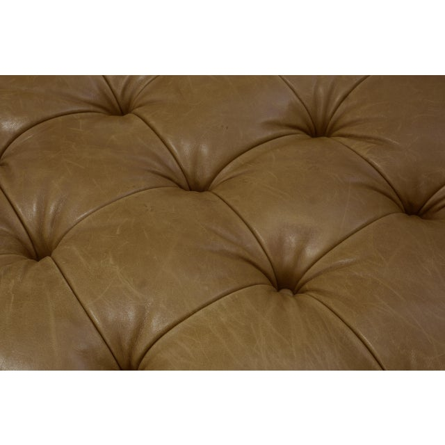 Camel Vintage George Smith Button Tufted Leather Bench For Sale - Image 8 of 9
