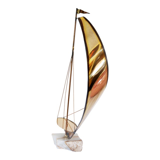 Vintage Metal and Onyx Sailboat Tabletop Sculpture For Sale