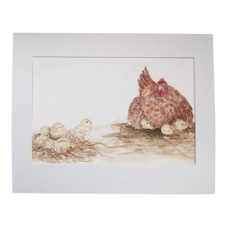 """""""Hen & Her Brood of Chicks"""" Watercolor Book Illustration For Sale"""