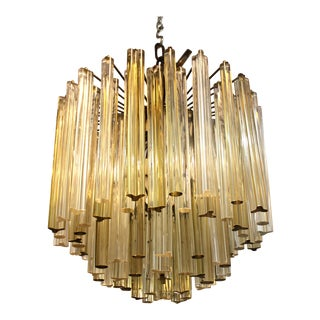 Italian Venini Style Mid-Century Murano Chandelier with Cut and Round Crystals For Sale