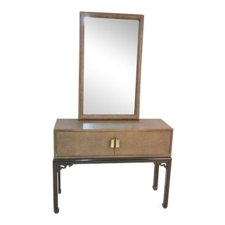Mid Century Asian Modern Lacquer Console With Mirror For Sale