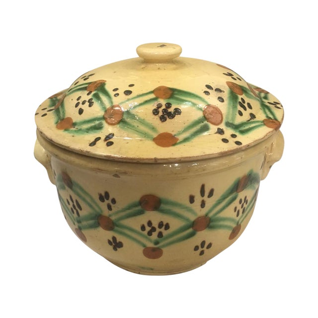 19th C. Yellow French Pottery Tureen For Sale