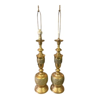Vintage Etched Brass Table Lamps - a Pair For Sale