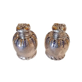 Late 19th Century Antique Tiffany & Co. Sterling Enameled Salt & Pepper Shakers - 2 Pieces For Sale