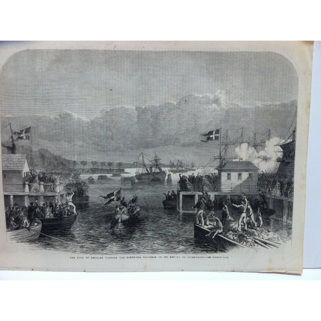"English Traditional 1864 Antique Illustrated London News ""The King of Denmark Visiting the North Sea Squadron"" Print For Sale - Image 3 of 5"