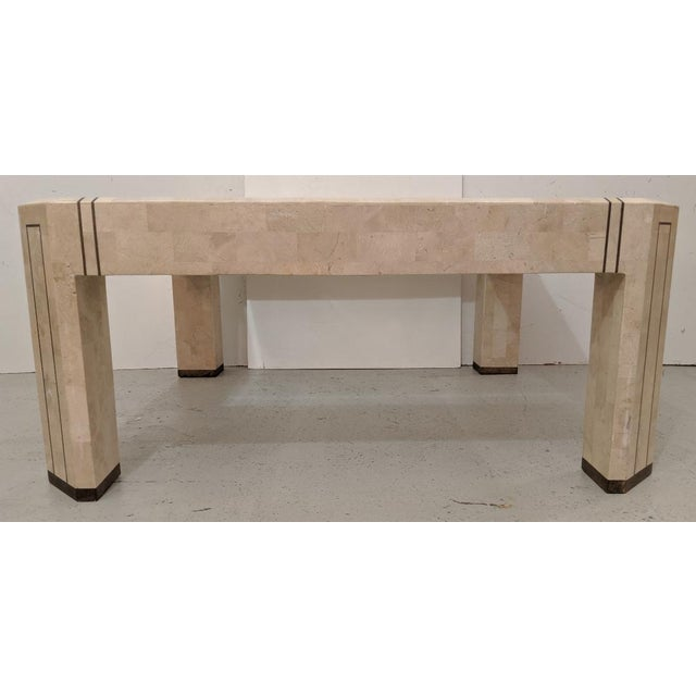 Alexvale Furniture - Tessellate Stone Cocktail Table. W/ Brass Trim, Vintage For Sale - Image 4 of 10