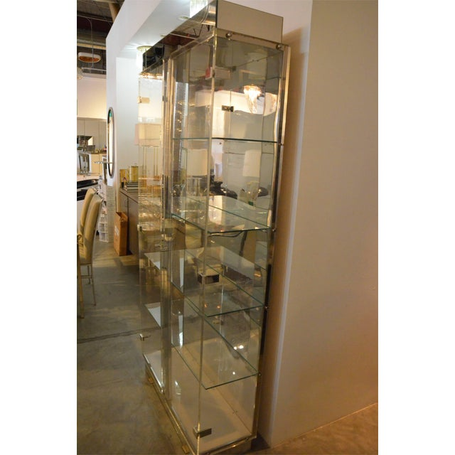 Tall Lucite Glass, Mirror and Chrome Cabinet with Upper and Lower Lighting - Image 6 of 6