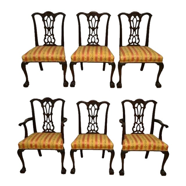 Solid Mahogany Chippendale Style Dining Chairs Ball & Claw Feet - Set of 6 For Sale