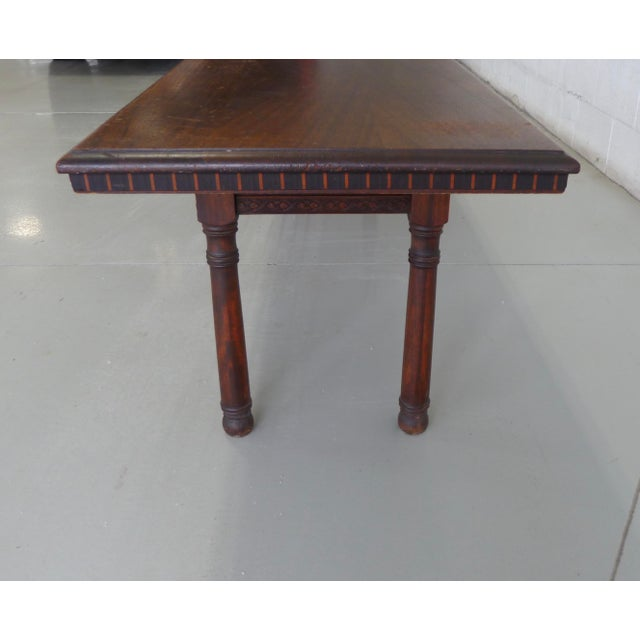 Antique Wood Table With Carved Floral Motif For Sale - Image 10 of 13