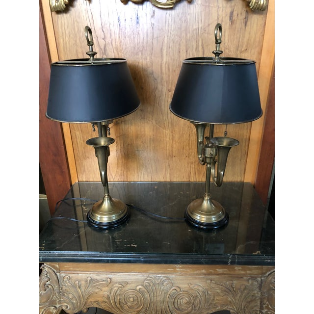 1950s Brass French Horn Bouillotte Table Lamps - a Pair For Sale - Image 11 of 13