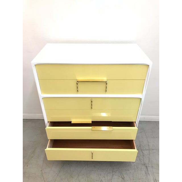 1970s 1970s Mid Century Modern White Yellow Lacquered Highboy Dresser For Sale - Image 5 of 9