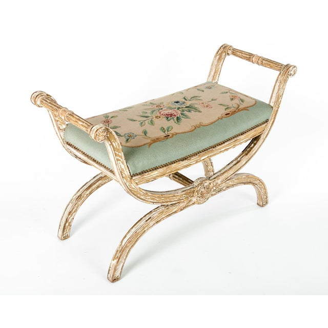 Beige French Needle Point Cushioned Bench For Sale - Image 8 of 8