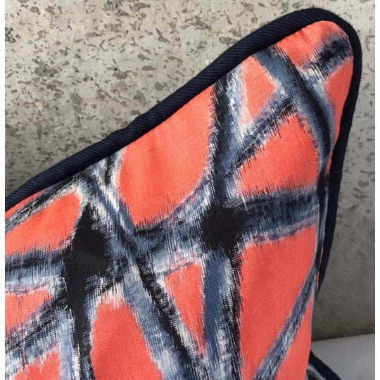 Mid-Century Abstract Navy & Coral Throw Pillows - A Pair - Image 3 of 5