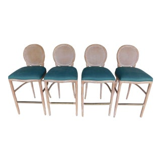 Shelby Williams French Country Set of 4 Bar Stools For Sale