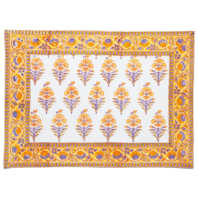 The Juhi flower design depicts a typical Indian flower motif in warm yellow tones with accents in cool periwinkle. This...
