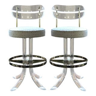 Charles Hollis Jones Lucite and Brass Bar Stools - a Pair For Sale