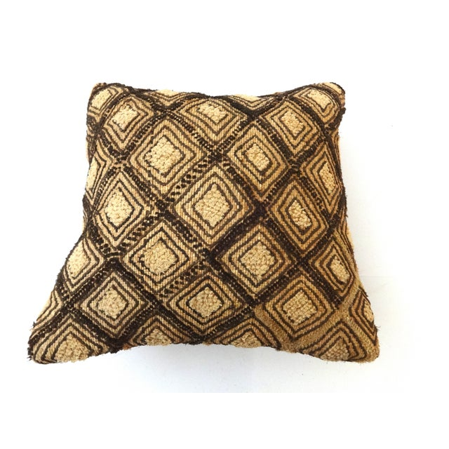 African African Embroidered Kuba Textile Pillow Congo For Sale - Image 3 of 6