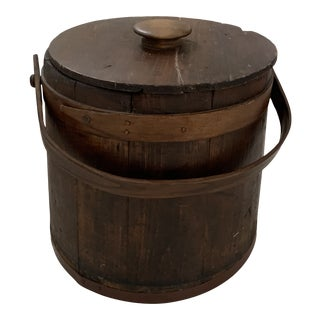 Vintage Wooden Pantry Bucket With Lid For Sale
