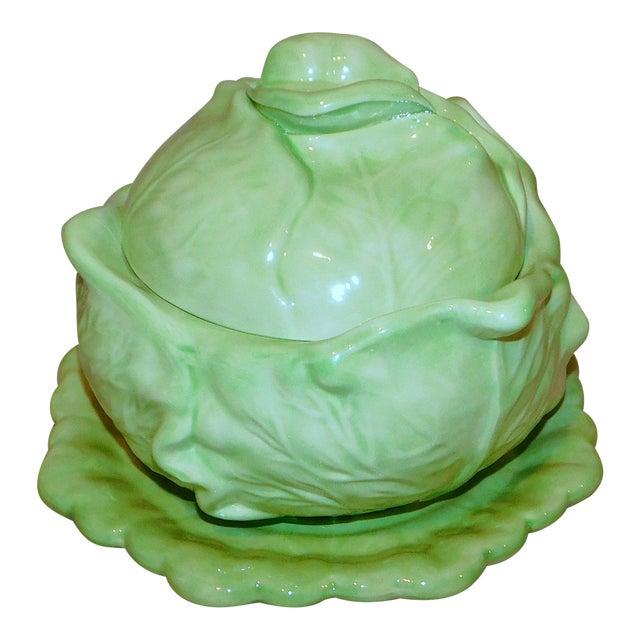 Vintage Ceramic Cabbage Vegetable Server For Sale