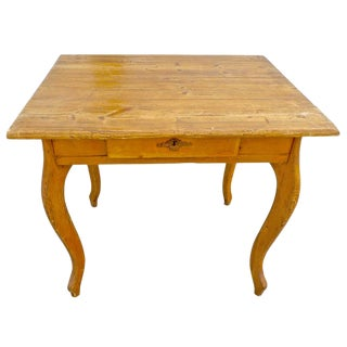 19th Century French Small Stained Pinewood Table For Sale
