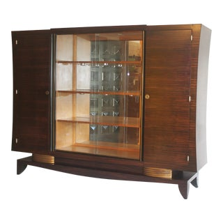 J. Leleu French Art Deco Macassar Ebony 3 Part Cabinet For Sale
