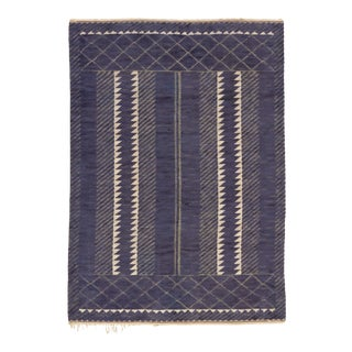 Swedish Pile & Flat Weave Rug by Barbro Nilsson- 7′2″ × 10′ For Sale