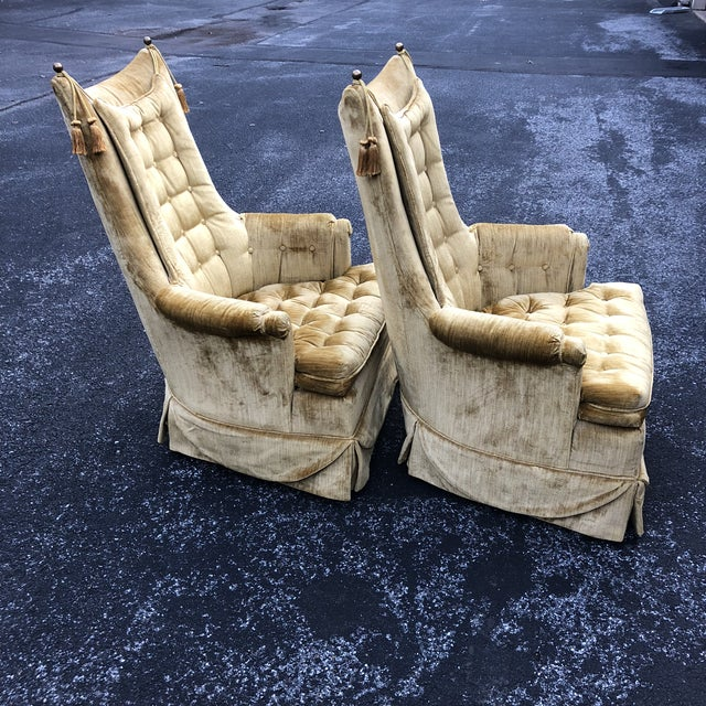 Traditional 1970s Vintage Hollywood Regency Style Velvet Tufted Tassel Club Chairs - A Pair For Sale - Image 3 of 13