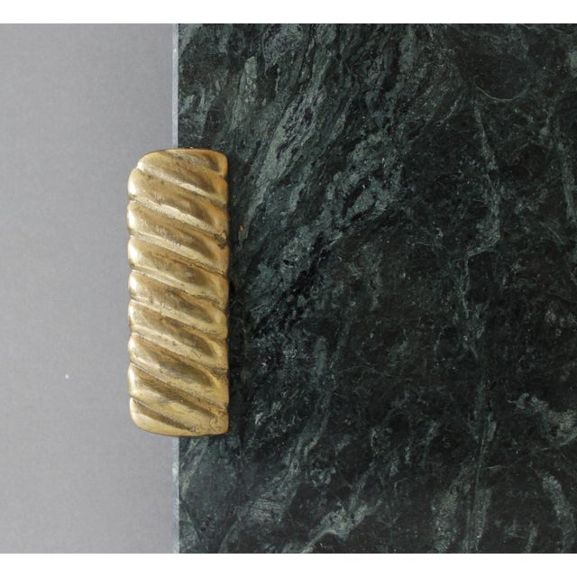 Georges Briard Georges Briard Green Marble & Brass Cutting Board Serving Tray Mid Century For Sale - Image 4 of 6