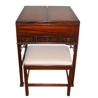Baker Chinese Chippendale Vanity Table & Stool For Sale