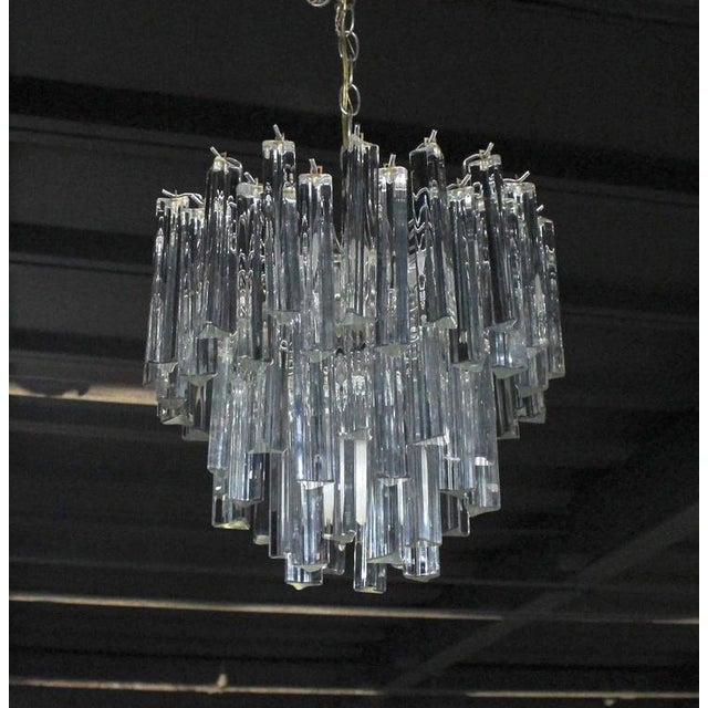 Early 20th Century Medium Size Venini Glass Prisms Camer Light Fixture For Sale - Image 5 of 9