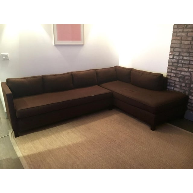 Mitchell Gold + Bob Williams Sectional in Brown Linen/Cotton - Image 2 of 6