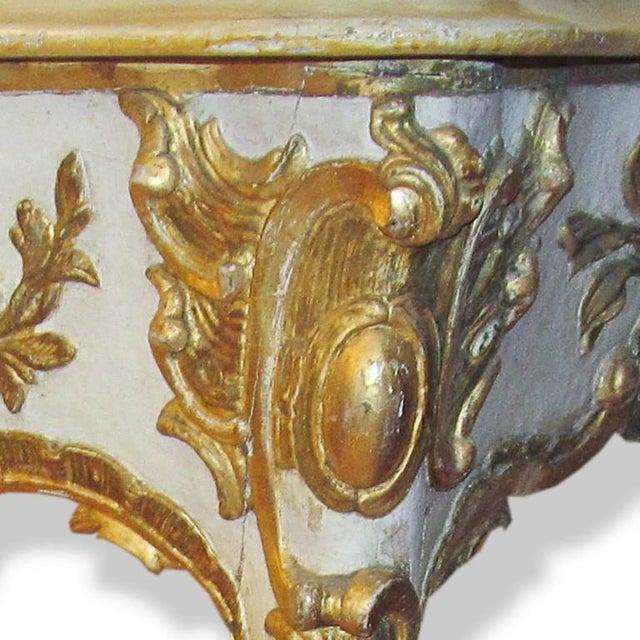Baroque 19th Century Cream and Gilt Italian Console For Sale - Image 3 of 3