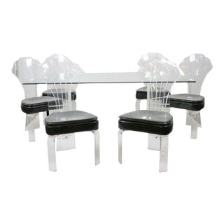 Vintage Lucite & Glass Dining Set For Sale