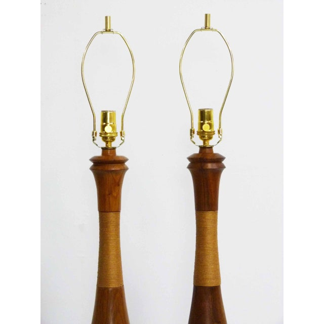 Mid-Century Walnut & Rope Table Lamps - A Pair - Image 4 of 7