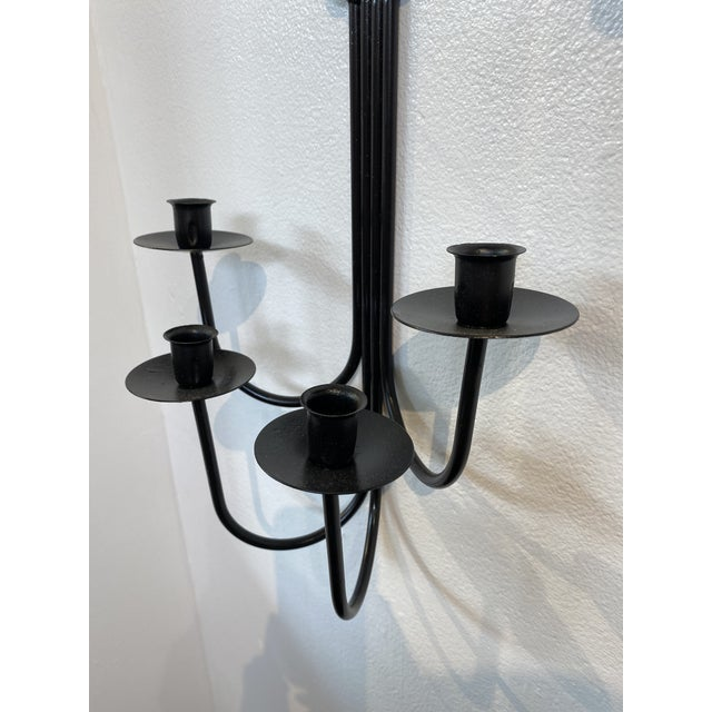 Mid Century Iron Candle Sconces, a Pair For Sale - Image 4 of 6