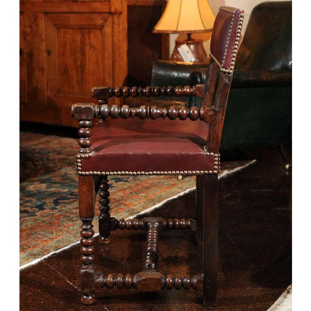 Bobbin Turned Walnut Armchair with Red Leather Upholstery For Sale - Image 4 of 9