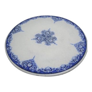 20th Century French Blue and White Cement Patio Dining Table Top For Sale