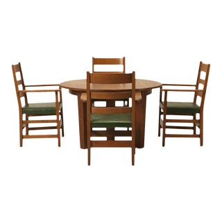 Arts & Craft Dining Table & Chairs - Serving of 5 For Sale