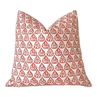 Bright Coral Les Indiennes Decorative Pillow Cover - 18x18 For Sale