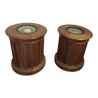 Walnut Compass Tables With Burled Walnut Slats - a Pair For Sale