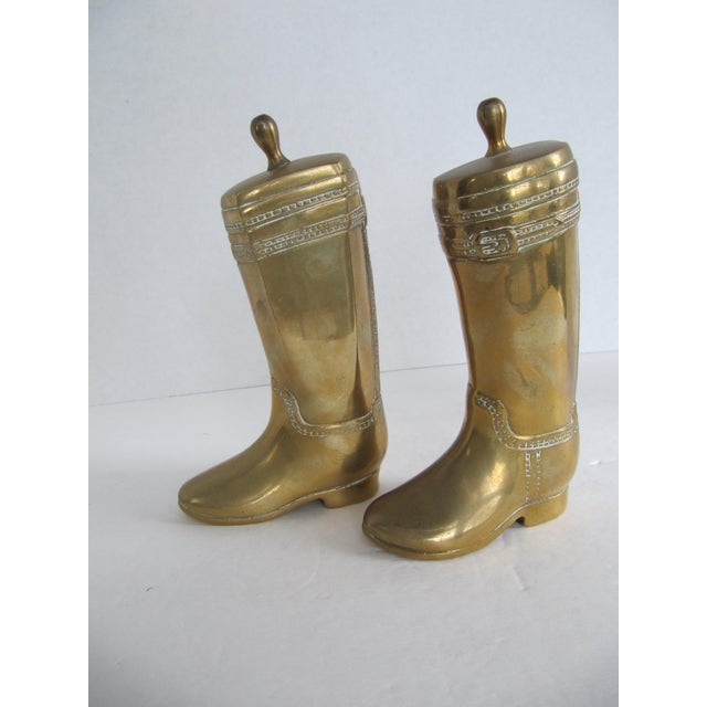 Vintage Brass Equestrian Boot Bookends - A Pair - Image 7 of 9