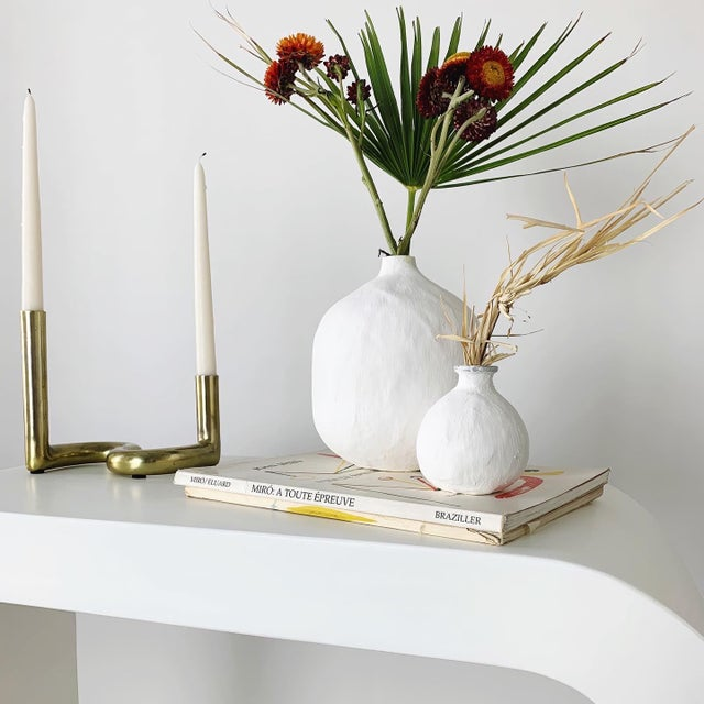 Minimalist White Plaster Waterfall Console Table For Sale In Las Vegas - Image 6 of 8
