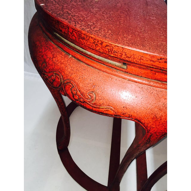 Chinoiserie Red Demilune Console Tables - a Pair - Image 9 of 10