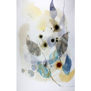 """Ana Zanic """"Dark Bloom W-2019-1-13"""" Abstract Watercolor Painting on Paper For Sale"""